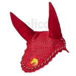 Elico Deluxe Horse Bonnet - Red/Gold